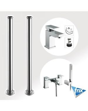 Form Square Freestanding Bathroom Tap Set Bath Shower Mixer & Basin Tap & Waste