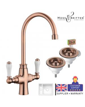 Moss & Britten Kitchen Sink Tap & 1.5 Overflow Kit Antique Copper