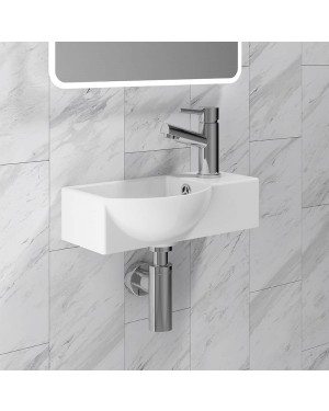Small Curved Bathroom Toilet Basin Sink Wall Hung Ceramic 1 Tap Hole
