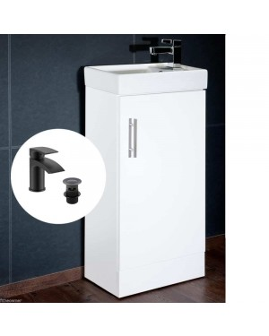 Compact Vanity Unit Including Ceramic Basin/Sink & Black Mixer Tap incl Waste