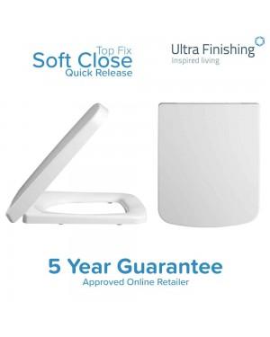 White Square Toilet Seat Soft Close Quick Release Wrapover Top Fix NCG199