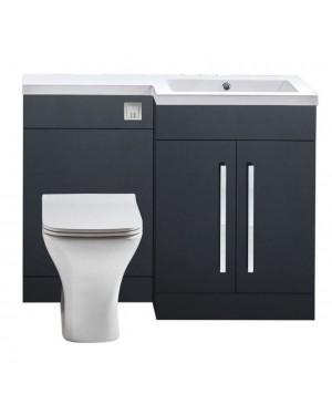 1100mm Right Hand L Shape Dark Grey Bathroom Furniture Vanity Unit NO WC included