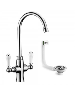 Traditional Kitchen Sink Tap incl Basket Strainer Waste & Overflow Chrome