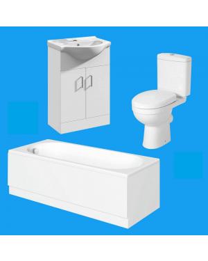 1700 Bathroom Suite Vanity Unit Close Coupled WC Toilet Cistern Soft Close Seat