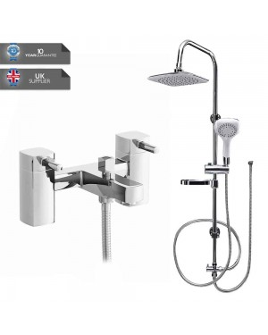 Square Overhead Shower Rigid Riser Kit Chrome Modern Bathroom Bath Mixer Tap