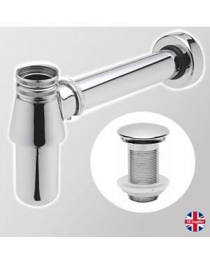 Chrome Modern Round Bathroom Sink Basin Bottle Trap Unslotted Full Cover Waste