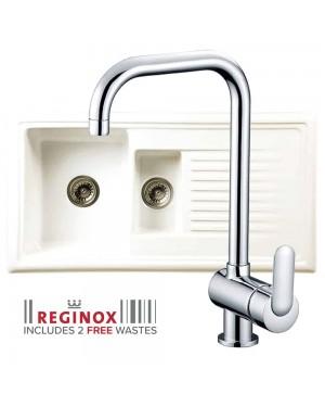 Reginox Kitchen Sink Ceramic Reversible Inset 1.5 Bowl & MAGDALENA Tap