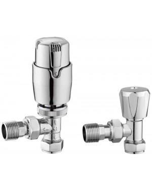 Modern Chrome Angled Thermostatic Radiator Valve Set