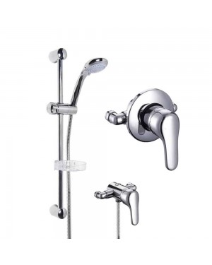 Wall Mounted Manual Shower Valve & Chrome Slide Rail Handset Kit