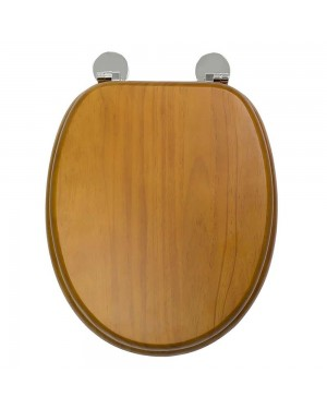 Croydex Davos Flexi Fit Antique Pine Effect Solid Anti Bacterial Toilet Seat