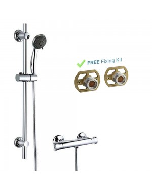 Thermostatic Shower Bathroom Chrome Bar Mixer Exposed Valve + Riser Rail kit