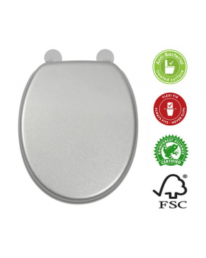 Croydex Silver Quartz Toilet Seat Chrome Hinges