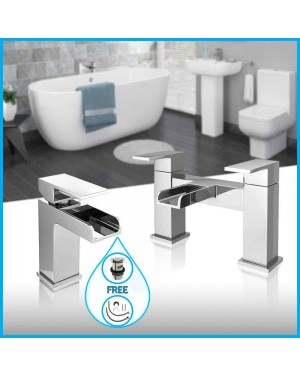 Waterfall Bathroom Tap Chrome Square Bath Filler Tap & Mini Mono Basin Sink