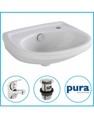 Pura Wall Hung Basin (Not Corner) & Domino Basin Tap