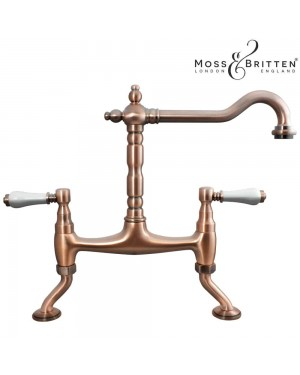 Moss & Britten Traditional Bridge French Classic Kitchen Sink Tap Antique Copper