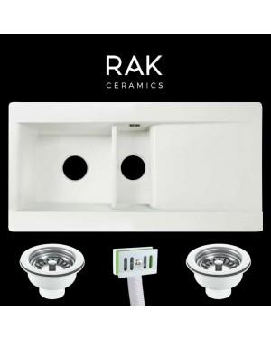 RAK 1.5 Bowl Gourmet Ceramic Kitchen Sink & Basket Strainer Waste Pair