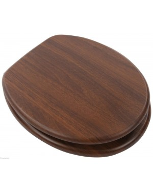 Wooden Toilet Seat in Walnut with Chrome Bar Hinge