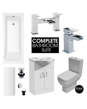 Complete Square Bathroom Suite Bath Close Coupled Toilet Waterfall Basin Tap Shower