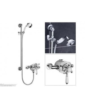 Traditional Dual Exposed Thermostatic Shower Mixer and Rail Kit