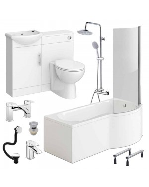 Complete P Shape Round Bathroom Suite