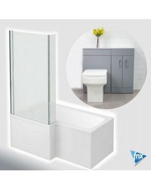 Lomond L Shape Left Hand Bathroom Suite in Matt Grey Vanity Unit BTW Pan Set