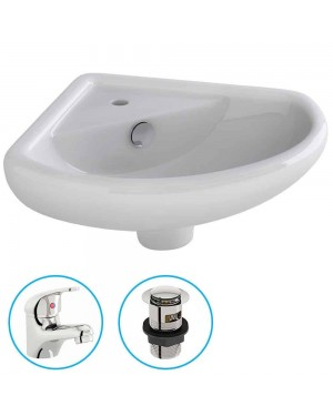 Bathroom Cloakroom Ceramic Compact Corner Small Wash Basin Sink Inc Tap & Waste