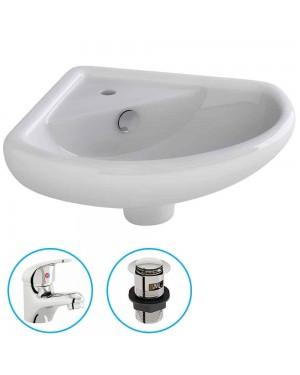 Bathroom Cloakroom Ceramic Compact Corner Small Wash Basin Sink Inc Tap & Waste