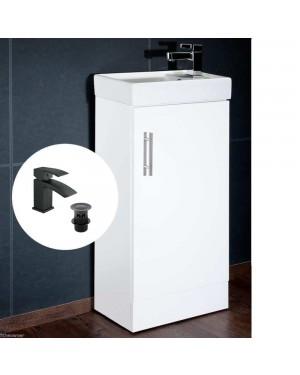 Compact Vanity Unit & Ceramic Basin 400mm Incl Black Basin Tap & Waste