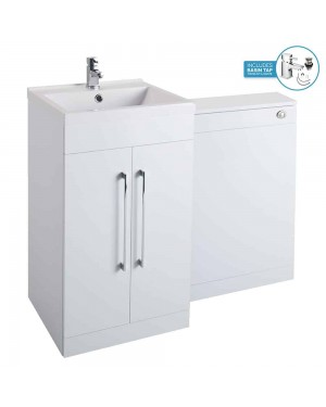 Gloss White 1000mm Bathroom Basin Sink Vanity WC Unit Cabinet Modern Square