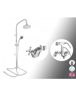 Traditional Bath Shower Mixer Tap With 3 Way Round Rigid Riser Kit & Basin Tap
