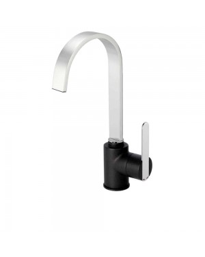 Reginox - Amur Chrome Black Mono Kitchen Sink Mixer Tap Single Lever