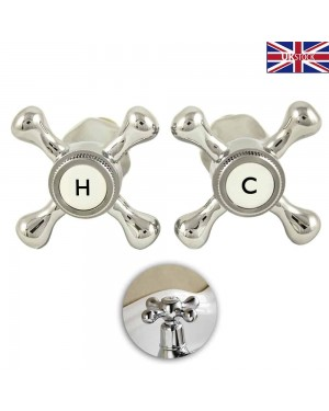TRADITIONAL STYLE CROSS HEADS REPLACEMENT BASIN SINK TAP CONVERSION KIT C/P 1/2""