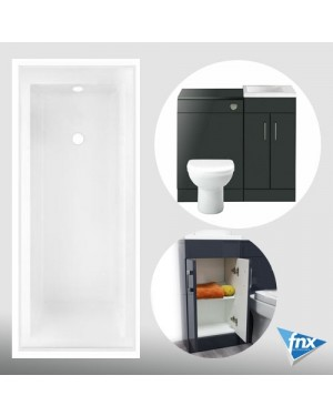 Anthracite Lomond Bathroom Vanity Suite 1700 Bath Vanity Unit Btw Unit & Toilet