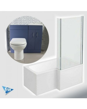 Lomond L Shape Right Hand Bathroom Suite in Storm Blue