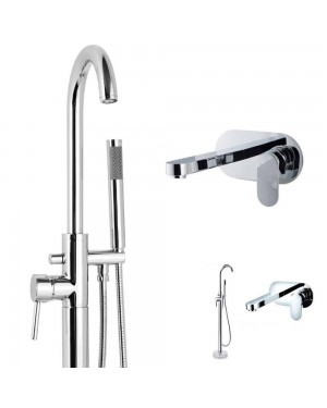 Round Floor Standing Bath & Wall Mounted Basin Tap