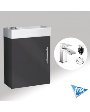 Bathroom 400mm ANTHRACITE Wall Hung Vanity Unit Including LUCIA Basin Tap & Waste