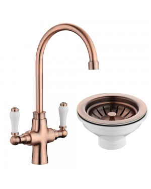 Traditional Kitchen Sink Mixer Tap in Copper Incl Basket Strainer Waste