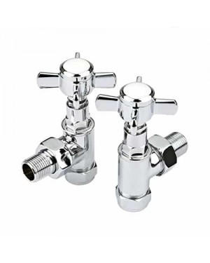 Traditional Angled Chrome Radiator Rad Valves Heated Towel Rail Tap Cross Head