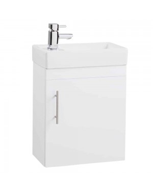 White Single Door 400 Wall Hung Vanity Unit