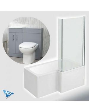 Lomond L Shape Right Hand Bathroom Suite in Stone Grey Vanity Unit BTW Pan