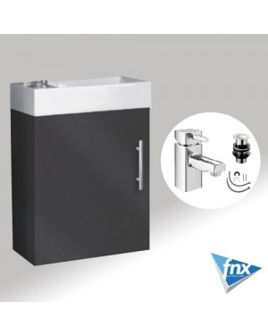 Bathroom Vanity Unit Compact Wall Hung ANTHRACITE Incl HERO Basin Mixer Tap & Waste