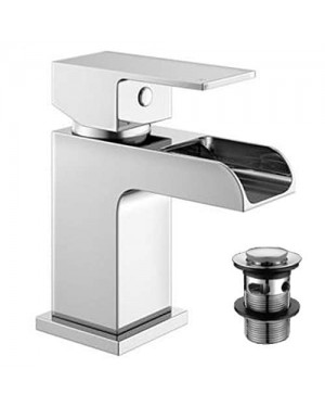 Modern Waterfall Basin Mixer Sink Tap Bathroom Cloakroom Heavy Brass Chrome Including Waste