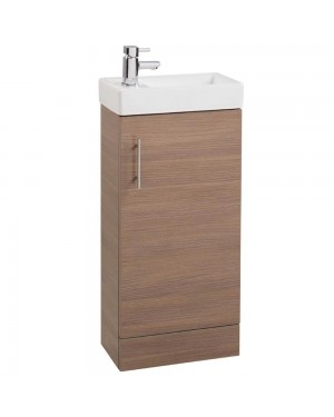 Modern Oak Cloakroom Bathroom 400mm Vanity Unit & Basin Sink Floor Standing