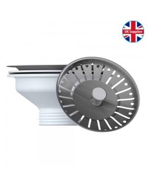 Kitchen Sink Basket Strainer Waste &  Stainless Steel Plug Fitting 90mm