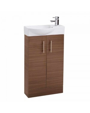 Walnut Modern Slimline 500mm Bathroom Cloakroom Vanity Sink Basin Unit Cabinet