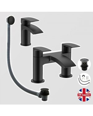 Luxury Bathroom Tap Set Waterfall Bath Filler Basin Mixer Tap Bath Waste BLACK