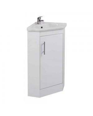 Corner Vanity Unit Reversible Door & Ceramic Basin - Tap & Waste