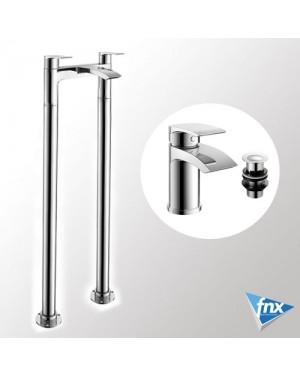 Modern Waterfall Freestanding Bath Filler Mono Basin Mixer Bathroom Tap Set