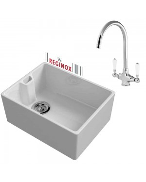 Reginox Kitchen Sink & Tap Belfast 600mm 1.0 Bowl Ceramic White Reversible