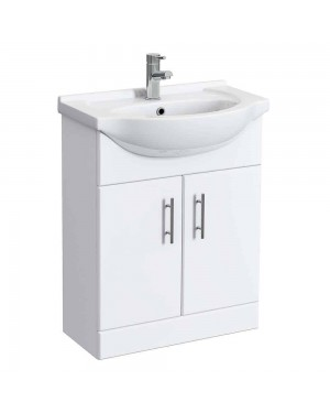 650 mm Vanity Unit High Gloss White Including Basin Bathroom Furniture